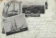 Gruss aus Swinemünde, Leuchtturm, Panorama, Kriegsschiff im Strom