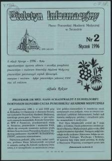Biuletyn Informacyjny : Pomorska Akademia Medyczna w Szczecinie. Nr 2, Styczeń 1996