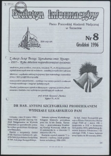 Biuletyn Informacyjny : Pomorska Akademia Medyczna w Szczecinie. Nr 8, Grudzień 1996