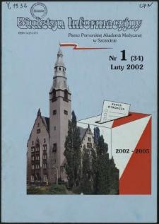 Biuletyn Informacyjny : Pomorska Akademia Medyczna w Szczecinie. Nr 1 (34), Luty 2002