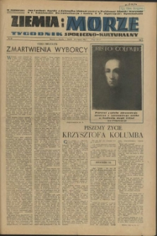 Ziemia i Morze : tygodnik społeczno-kulturalny. R.1, 1956 nr 20